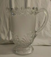 Vintage EAPG Frosted Glass Water Pitcher Clear Glassware
