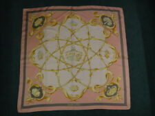"""Authentic HERMES """"Crown"""" 100% Silk Scarf - Pink, Gold & Grey"""