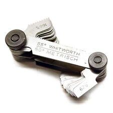 Screw Gauge Set Thread Pitch GAGE 52 blades 60° metric 55° Whitworth Lock Device