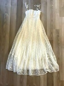 Vintage Long Ivory Lace Ruffle Gown Dress Size S Boho Formal Wedding USA