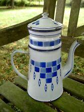 CAFETIERE tole émaillée ancienne décor Bleu LUSTUCRU - French enamel Coffee Pot