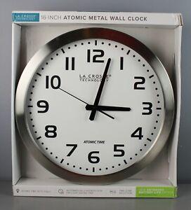 "La Crosse Technology 16 inch 16"" Atomic Metal Wall Clock Round Silver [GS Z]"