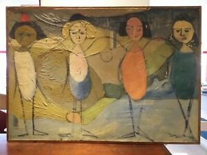 1964 dated '64' ANTIQUE oil on paper original FRENCH MODERNIST picture PAINTING