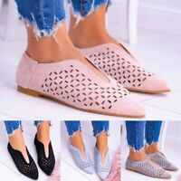 Womens Cut Out Casual Loafers Flats Pointed Toe Slip On Sandals Pumps Shoes Size