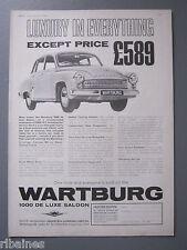 R&L Ex-Mag Advert: Wartburg 1000 DeLuxe Saloon / Hardy Spicer Propeller Shafts