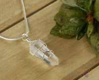 CLEAR QUARTZ Crystal Pendant - Gemstone Wire Wrapped Jewelry Crystal Point E0140