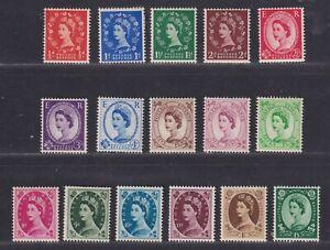 Great Britain SG 515-530 Scott 292-308 MNH 1952-54 QEII Tudor Crown Set SCV $82