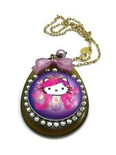 Tarina Tarantino Hello Kitty Pink Head Brown and Gold Necklace