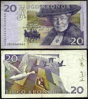 Sweden 1999-2008 Very Good 20 Kronor Banknote Paper Money Bill P-63