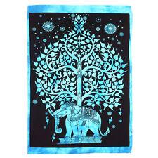 Elephant Tree Wall Hanging, Blue, Textile