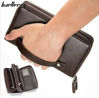 Men's Leather Business Clutch High Capacity Wallet Double Zipper Long Purse New