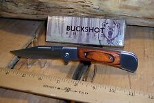 "Buckshot Classic 4.5"" Assisted Open Knife, Stainless Steel Blade, Wood Handles"