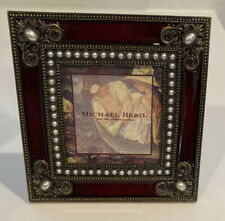 "Michael Hero Stunning Red and Antique Brass metal Frame 5""X5"". Gorgeous!!"