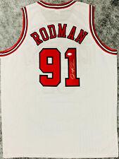 Chicago Dennis Rodman Signed White Jersey Silver Auto - BAS Beckett COA