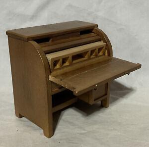 "Wood Roll Top Desk Moveable parts Mini Miniature Dollhouse Doll Furniture 3.5"""