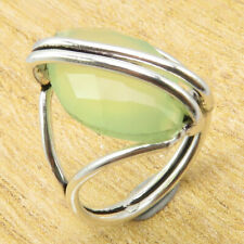 Sea Chalcedony Silver Plated Metal Jewellery Ancient Style Ring Size 6 | Green