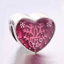 """""""AMO TE""""-Latin- I LOVE YOU - Heart- Genuine Solid 925 sterling silver charm bead"""