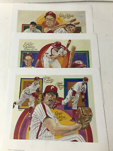 1983 - Set of 3 - Perez-Steele Lithograph Pictures of Phillies Greats - Mint