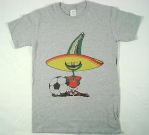 Mexico 86 Pique Football World Cup 80s Retro Grey T-Shirt SMALL-XXXL Soccer Ciao