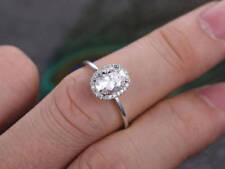 Certified 2.00ct Oval Cut Diamond Engagement & Wedding Ring 14K White Gold