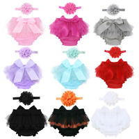 Infant Baby Girls Photography Prop Outfits Bloomer Diaper Cover+Flower Headband