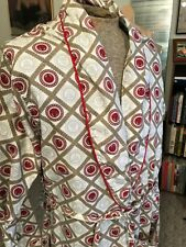 Vintage 50s Atomic Rockabilly Robe Mens M Smoking Silk Red