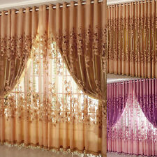 Home Floral Tulle Room Door Blackout Window Curtain Drape Panel Sheer Scarfs AU