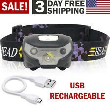 USB Rechargeable Headlamp Flashlight Head Band LED Light Waterproof Outdoor Lamp