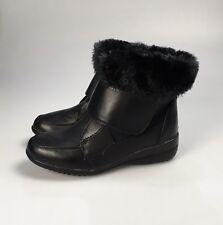 Girls Ladies Black Fur Trim Wedge Heel Ankle Boots Size UK 3 EU 36