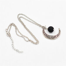 Vintage Silver Hollow Alloy Moon Black Lava Rock Bead Pendants Jewelry Necklace