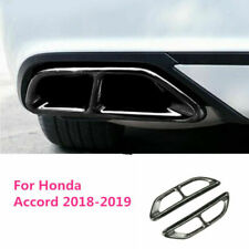 For Honda Accord 2018 2019 Carbon Fiber Steel Rear Cylinder Exhaust Pipe Cover T