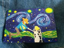 painting Marilyn Monroe Vincent Van Gogh STARRY NIGHT art trading card ACEO brut