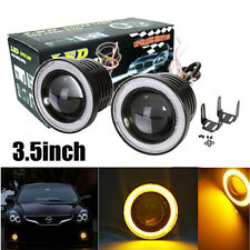 "2PC 3.5"" COB LED Fog Light Projector Car w/ Yellow Angel Eyes Halo Ring DRL Lamp"