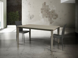 Table With Plan Glass Taupe (827-828), Various Sizes, Extensible