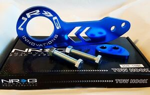 NRG Rear Tow Hook Kit FOR Honda & Acura Universal JDM Style (BLUE w/ WHITE LOGO)