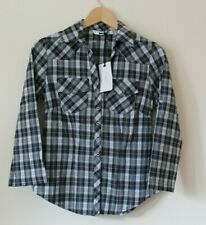 """New Look Black & White Check Shirt """"Stella"""" Fitted Western Prairie Size 10"""