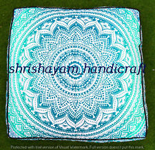 Square Mandala Pillow Cover Meditation Box Floor Cushion Ethnic Ottoman Pouf Art