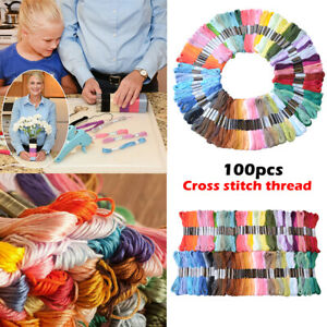 100Pcs Multi Colors Cross Stitch Cotton Embroidery Thread Floss Sewing Skeins
