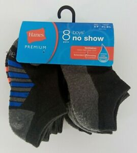 Hanes Premium Boys 8pk No Show Athletic Socks  Black S Shoe Size 4 1/2 to 8 1/2