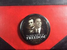 "SCARCE PIN BADGE BARAK OBAMA ""A NEW BIRTH OF FREEDOM"" 56th inaugural 20 Jan.2009"