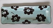 Laurie Gates 18 inch Rectangular Serving Tray Platter Blue Flowers Floral Ware