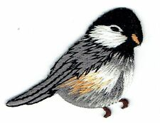 Iron On Embroidered Applique Patch- Natural Chickadee Bird Facing Right