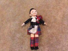 """VINTAGE 1938-41 labeled Norah Wellings 10"""" SCOTTISH Highlander cloth doll"""