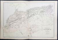 1870 John Bartholomew Large Antique Map Morocco, Algeria & Tunisia, North Africa