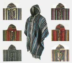 Heavy 100% Brushed Cotton Hooded Hoodie Poncho (ONE SIZE) - Made In Nepal
