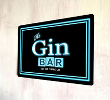 The Gin Bar Retro Neon lights 80's style out door sign A4 metal plaque