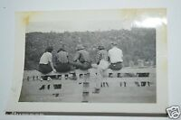 Original 1940's Young Farmers Men & Women Sitting on Fence & Horses Photograph