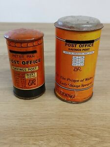 Two vintage Post Office Savings Tins Peter Pan, royal wedding Charles & Diana