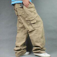 Men Plus Size Loose Cargo Trousers Work Pants Casual Baggy Hip Hop Pockets L-7XL