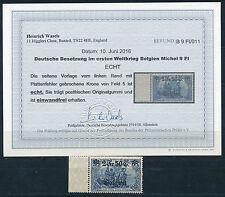 Belgien 2 Fr. 50 C. Aufdruck 1918** Plattenfehler Michel 9 PF I Befund (S12799)